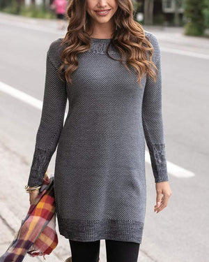 Pointelle Sweater Dress Charcoal / XS
