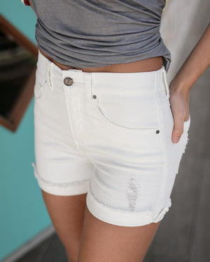Distressed Super Stretch Zip Up Midi Shorts -