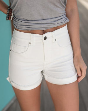 Distressed Super Stretch Zip Up Midi Shorts - White / XS
