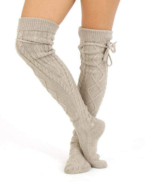 (**sale**) Alpine Thigh High Boot Socks Barley Brown