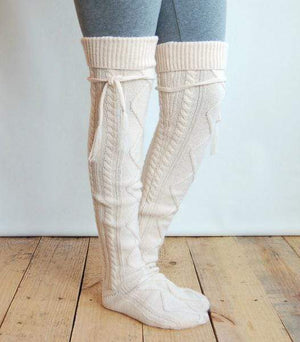 (**sale**) Alpine Thigh High Boot Socks Cream