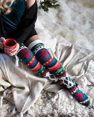 Alpine Thigh High Boot Socks - Nordic Intarsia