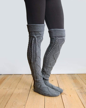 Alpine Thigh High Boot Socks - Mid Grey