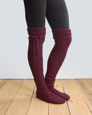 Alpine Thigh High Boot Socks - Wine