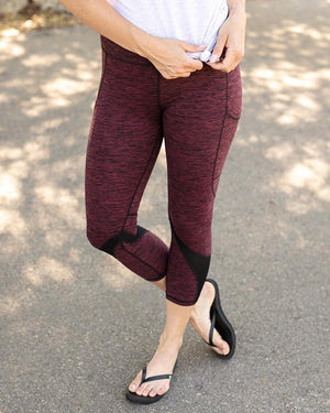 Athleisure Pocket Leggings - Heathered Wine / XS