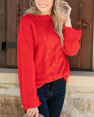 Baby Loop Knit Sweater - Hot Red / XS