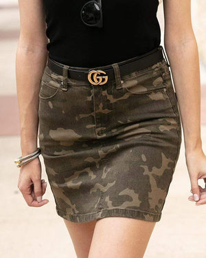Camo Denim Skirt -
