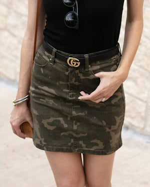 Camo Denim Skirt - Camo / XS