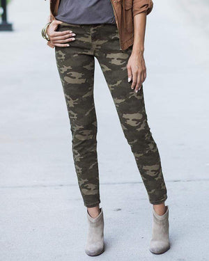 Camo Mid-Rise Zip Up Jeggings - Extra Small / Camo