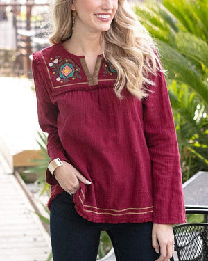 Elena Embroidered Top - Ruby / XS