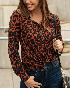(**sale**) Favorite Button Up Top in Leopard Print Leopard / XS