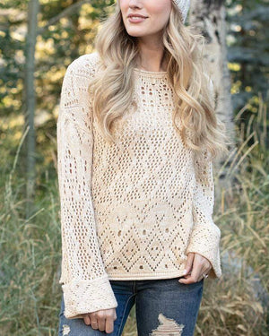 (**sale**) Frost Creek Pointelle Sweater Cream / XS