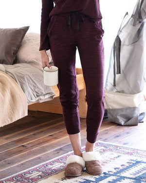 Snow Day Joggers - Heathered Wine / XS