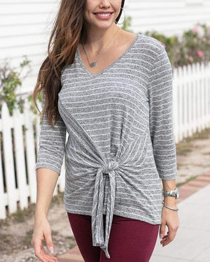 Snowday Tie Front Top - Heathered Grey Stripe / XS