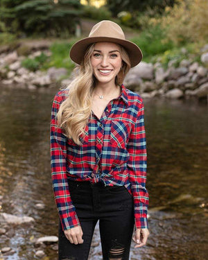 Stretch-Flex Flannel Plaid Top -