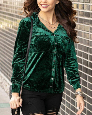 Tinsel Velvet Button Up - Spruce / XXS