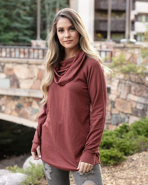 Ultra-Soft Cowl Neck Tunic in Sienna -