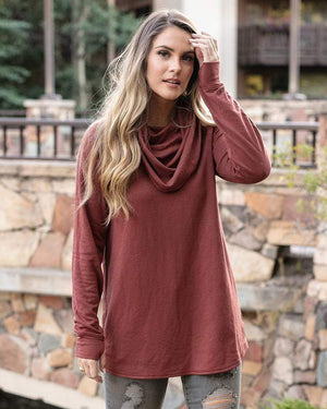 (**sale**) Ultra-Soft Cowl Neck Tunic in Sienna Sienna / XXS