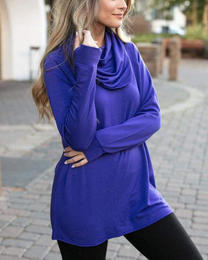 (**sale**) Ultra-Soft Cowl Neck Tunic in Vivid Violet Vivid Violet / XXS
