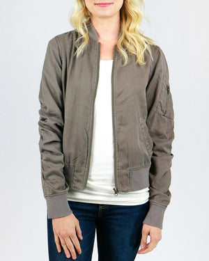 Washed Tencel Bomber Jacket -