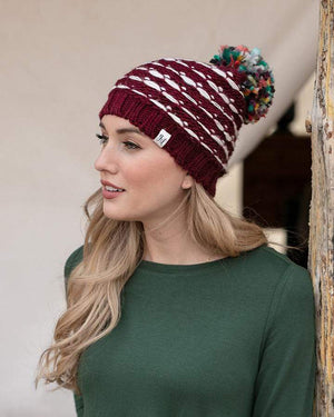 (**sale**) Whipstitch Hat Wine/Cream / One Size