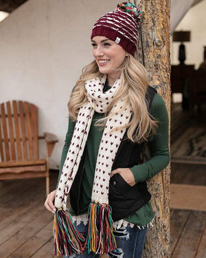 (**sale**) Whipstitch Scarf Wine/Cream