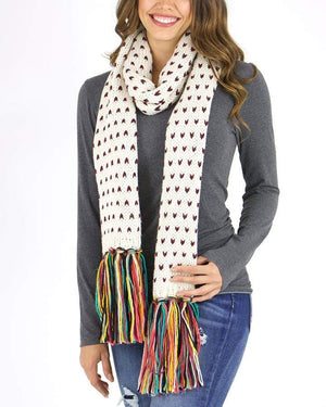 Whipstitch Scarf - Wine/Cream