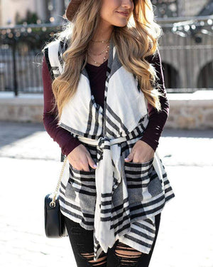 Winter Plaid Vest - Ivory/Black Plaid / XS