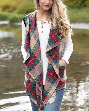 Winter Plaid Vest - Tartan Plaid / XS
