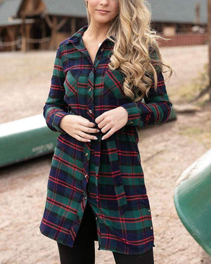 Stretch-Flex Flannel Plaid Dress - Blue/Green Plaid / XS