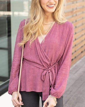 Willa Wrap Top Rose Bud / XS