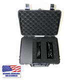 Portable Enail Case in Black - Top Open View with Coil Heater and Power Cable