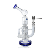 Glass Bubbler Hitman - Double Percolator - Side View With Titanium