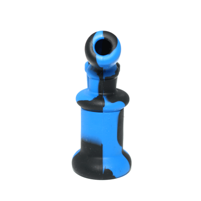 Mini Silicone Bubbler Rig With Glass Bowl - Blue-Black-Rear