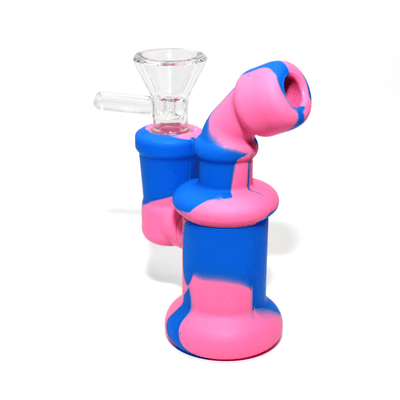 Mini Silicone Bubbler Rig With Glass Bowl - Pink-Blue-Complete