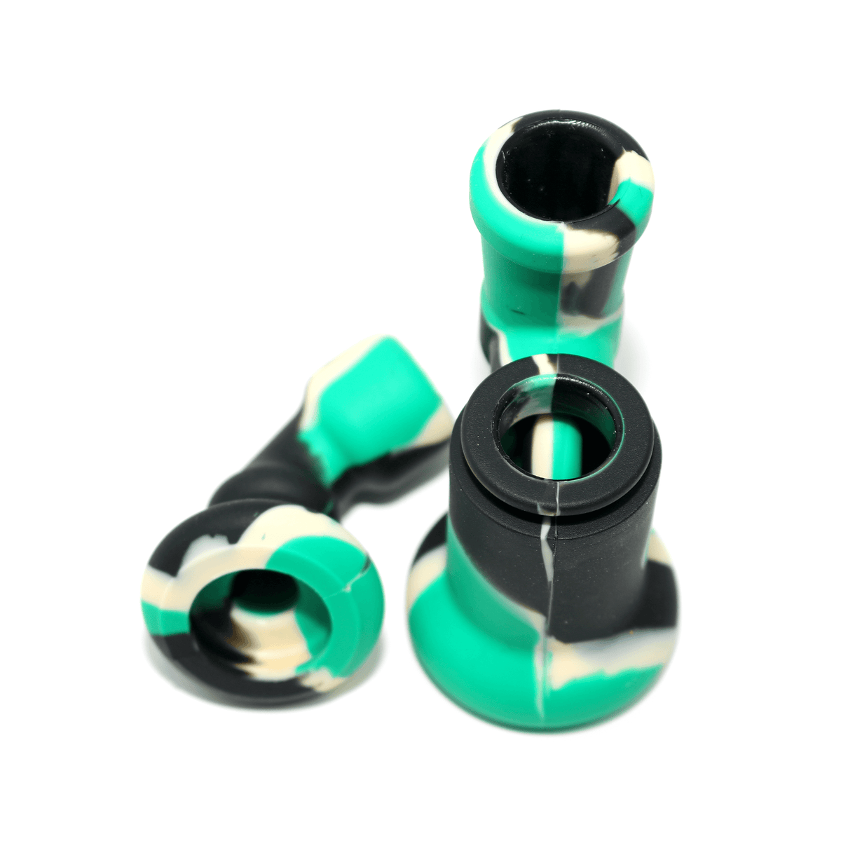 Mini Silicone Bubbler Rig With Glass Bowl - Green-Black-Apart