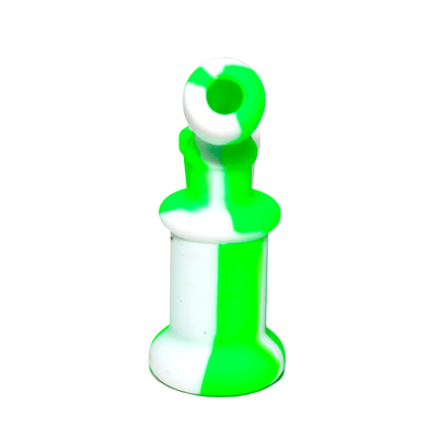 Mini Silicone Bubbler Rig With Glass Bowl - Green-White-Rear