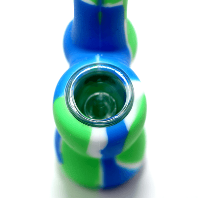 Mini Silicone Bubbler - Green-Blue-Close-Up