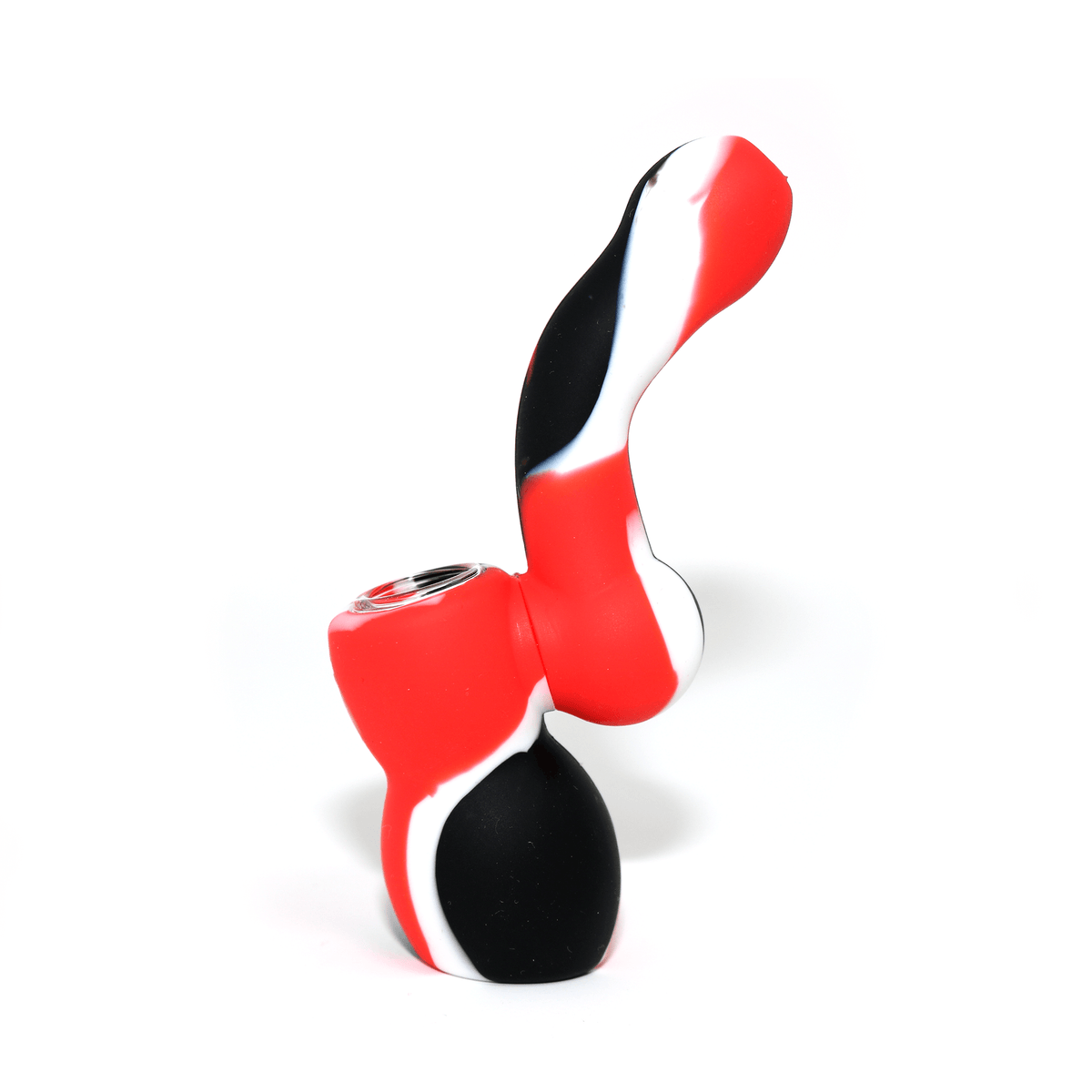 Mini Silicone Bubbler - Red-Black-White-Side