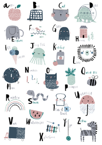 Mini Moon Nursery Alphabet Poster