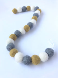 The Bear and The Bird Felt Ball Garland - Mustard, White & Grey
