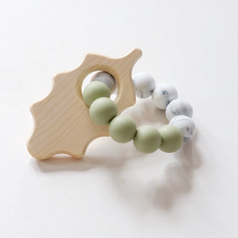 Blossom & Bear Oak Leaf Beaded Teething Rattle