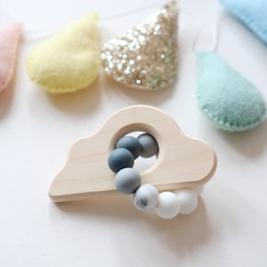 Blossom & Bear Cloud Beaded Teething Rattle