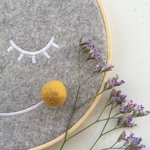 The Bear and The Bird Mr Moon Embroidery Hoop - Mustard