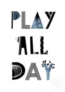 Mini Moon Nursery Play All Day Print