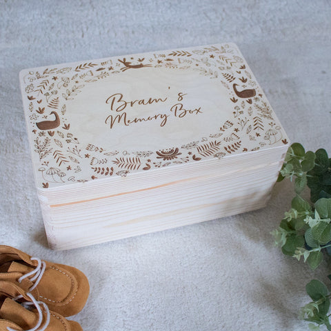 Fred & Robin Personalised Memory Box - Woodland Design