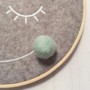 The Bear and The Bird Mr Moon Embroidery Hoop - Mint