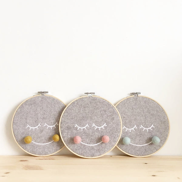 The Bear and The Bird Mr Moon Embroidery Hoop - Blush