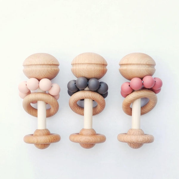 Blossom & Bear Wooden Rattle - Peach