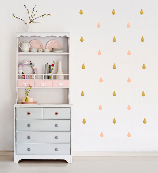 POM Wall Stickers - Raindrops (Rose & Gold)